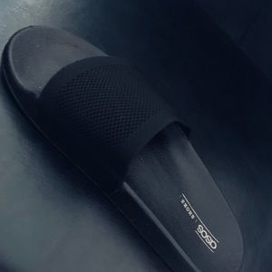 Asos all black slides